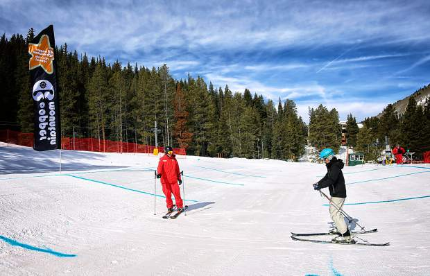 An instructor leads a student through the groomed terrain features at Copper Mountain. The variable terrain is a new addition to the resort's beginner area just outside of West Village.