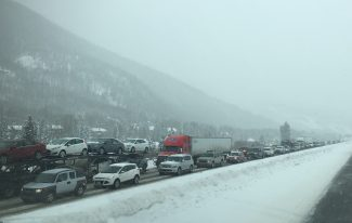 Eastbound vehicles in the Vail area on I-70 line up for a safety closure Sunday afternoon. I-70 has faced multiple closures in Eagle and Summit counties throughout the day as heavy snowfall hit the area.