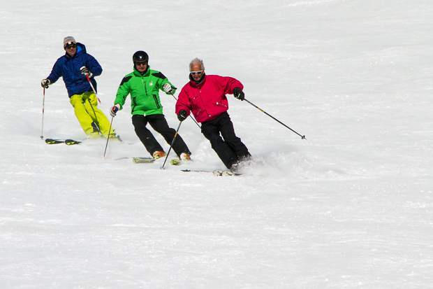 The author (middle) follows closely behind Trygve Berge (front) at Keystone Resort. The former Norwegian downhill champion has called Summit County home for nearly 50 years.