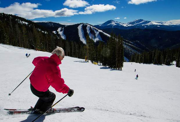 Local ski legend Trygve Berge makes effortless turns on a bluebird day at Keystone Resort. Berge told the author he likes to visualize U.S. ice-skating master Peggy Fleming when he skis.