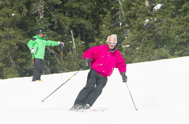 The author (behind) watches and learns as Norwegian ski legend Trygve Berge (front) weaves down the pitch at Keystone Resort. The two have known each other for 40 years — nearly as long as Berge has lived in Summit County — but just recently had the opportunity to ski together.