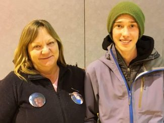 Logan Jauernigg's mother, Michelle Schlund, left, with Live Like Logan scholarship recipient Wyndom Richter. The Live Like Logan fund honors the memory of Jauernigg, who died in a 2015 kayaking accident.