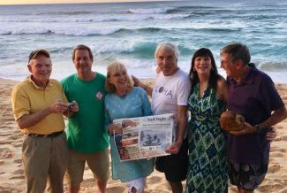 Vail friends are escaping the cold and enjoying Sunset Beach in Hawaii. Bob Wilhelm, Franz Schnell, Gena Whitten, Rupert Oberlohr, Shelley Tarr and George Weismann. Good music, good food, warm weather and friends together at the beach.
