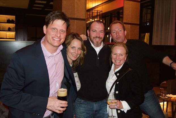 Charlie Meynier, Kristen and Chris Pryor, Lynn Wurzer and Patrick Connolly enjoy an evening out at the Four Seasons Resort in Vail during the Rock-N-Remedy event with the band Guster.