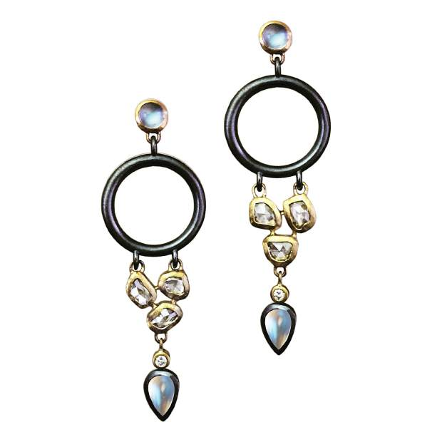 Cleo Earrings, 18-karat yellow gold and oxidized sterling silver; rose-cut diamonds and fine blue moonstone.