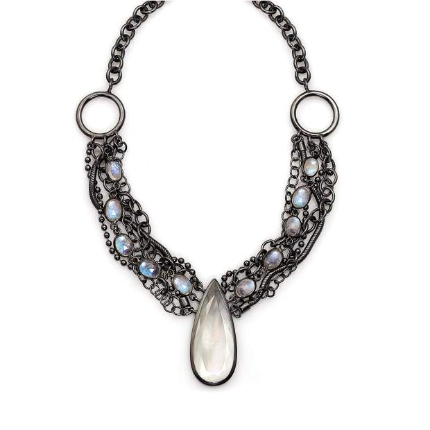 Capella Necklace, oxidized sterling silver; mother-of-pearl and quartz doublet, blue moonstone.