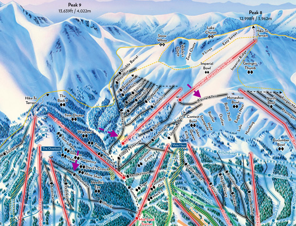 Map Of Breckenridge Ski Area on