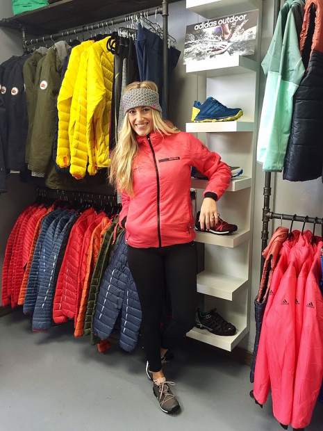 53b14e541 Local stylist and blogger Delphine Gennison shows off the outdoor  collection at the Adidas Outlet Store in Edwards. Tonight only from 4 30 to  7 30 p.m. The ...