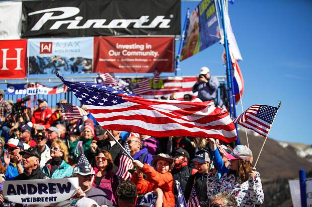 Fans cheer for U.S. skiers during the Super G races on Thursday in Aspen.