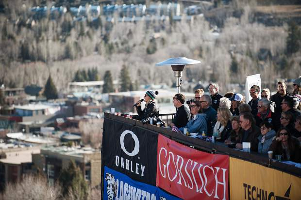 The woman singing the National Anthem prior to the men's and women's Super-G races on Thursday.