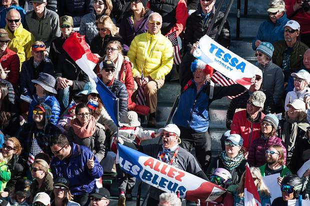 Fans in the grandstands at the base of Aspen Mountain for the men's and women's Super-G competitions on Thursday.