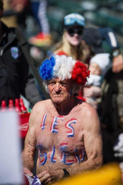 A French fan decks himself out in support of his countries' skiers for the men's and women's Super-G on Thursday.
