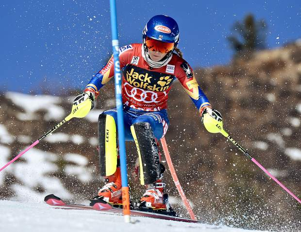 Mikaela Shiffrin competes in Run 1 of the slalom at the World Cup Finals in Aspen on Tuesday. Shiffrin was the third-fastest competitor in the first run.