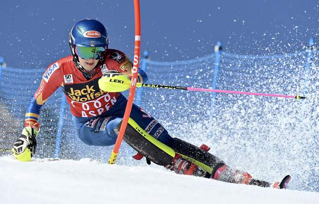Mikaela Shiffrin skis down Aspen Mountain during the second run of the slalom at the World Cup Finals in Aspen on Saturday. Shiffrin finished in second place.