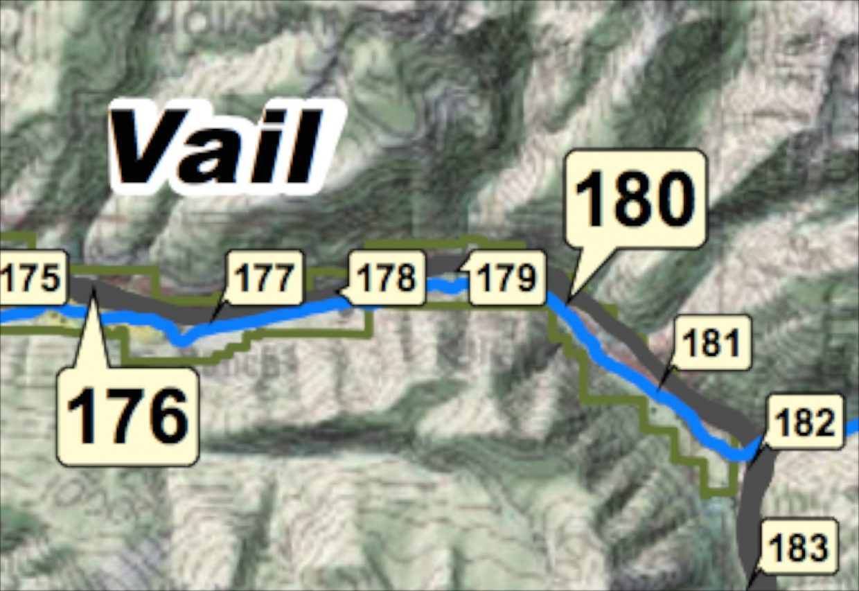 image- Town of Vail map of mile marker locations along Interstate 70 in Eagle County.