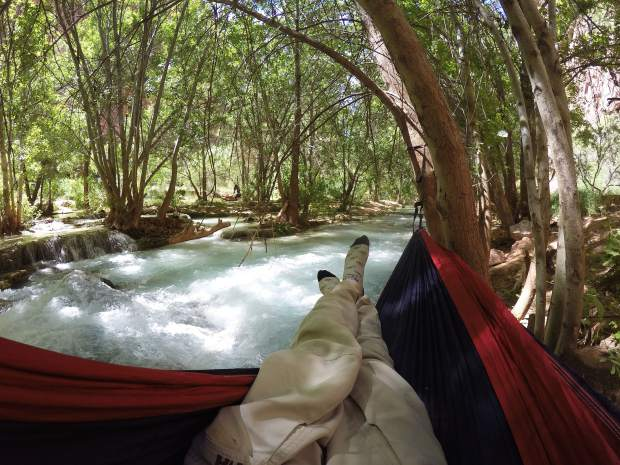 Hammock camping is a great option at Havasu Falls. Many of the sites have trees, which are crucial for hammock camping, and a hammock is lighter to pack than a tent. It does get cold over night, so be prepared.