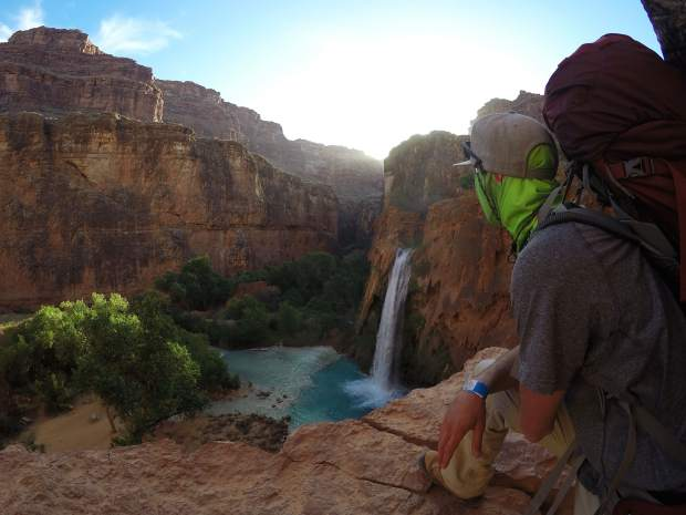 The sun rises over Havasu Falls in the Grand Canyon as we begin our hike out. Havasu Falls is a bucket list destination, and while we backpacked the 20 miles in and out, there are mules, as well as helicopters, for hire to ease the load.