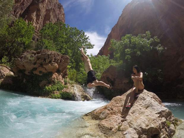 Surrounding Havasu Falls are other day hikes, varying in length. The trails cross over the water multiple times, making for fun spots to stop.