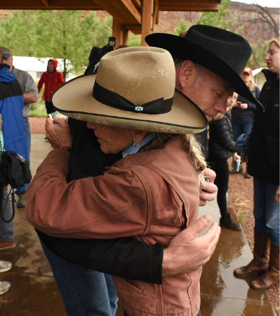U.S. Interior Secretary Ryan Zinke thanks Heidi Reed during his visit to historic Dugout Ranch along Indian Creek near Monticello, Utah, operated by Redd, under a conservation easement with the Nature Conservancy. Zinke is touring two monuments in Utah this week as part of a review ordered by President Donald Trump of 27 monuments to determine if they were properly designated.