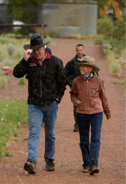 U.S. Interior Secretary Ryan Zinke visits historic Dugout Ranch along Indian Creek near Monticello, Utah, operated by Heidi Redd, right, under a conservation easement with the Nature Conservancy.