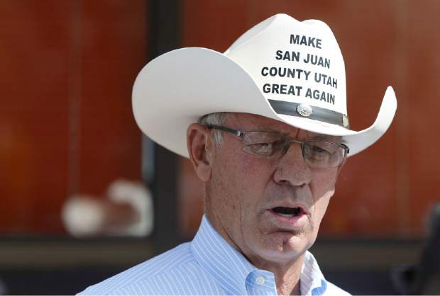 Bruce Adams, chairman of the San Juan County Commission, makes it clear where he stands on the recently designated Bears Ears National Monument designation. Adams arrived at the Blanding airport on Monday to greet Interior Secretary Ryan Zinke as he arrived for an aerial tour of the recently designated Bears Ears National Monument in southeastern Utah. Utah Republicans in Congress are advocating for Trump to jettison Utah's national monument designation.
