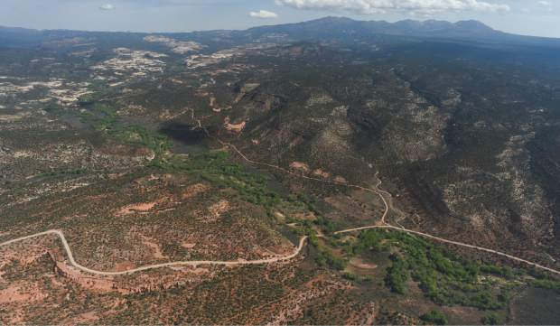 The Blue and Abajo Mountains in the distance along with Hammond Canyon to the West are included in the Bears Ears National Monument in southeastern Utah, protected by President Barack Obama on Dec. 28, 2016. Utah Republicans in Congress are advocating for Trump to jettison Utah's national monument designation.