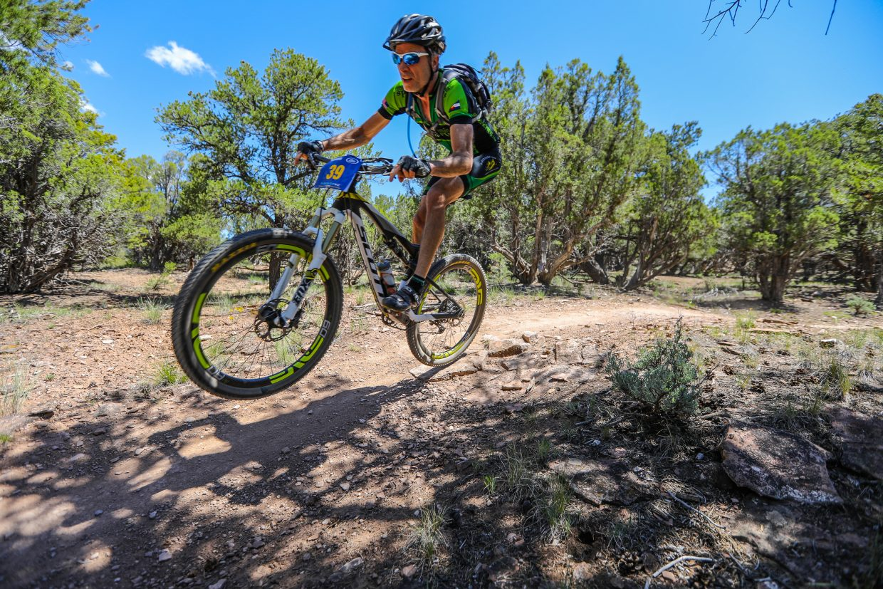 Riders make their way down Boneyard Trail during the Firebird Cross Country – 2017 Colorado State Championships for the Eagle Outside Festival on Saturday, June 3, in Eagle.