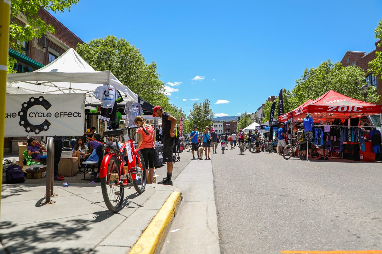 Vendors lined Capitol Street in Eagle during the Eagle Outside Festival on Saturday in Eagle. The bike event drew thousands over the weekend.