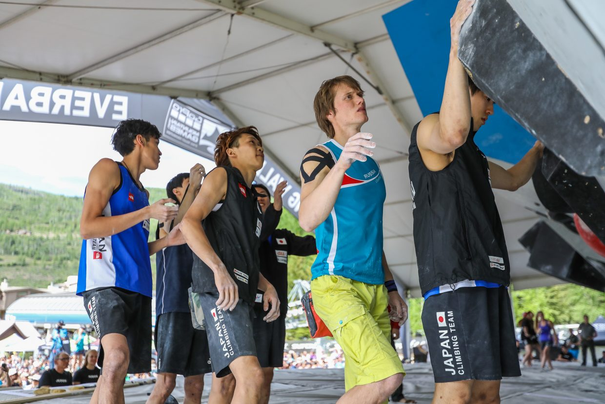 Climbers get time before the competition to check out the routes for the International Federation of Sport Climbing finals during the GoPro Mountain Games on Saturday, June 10, 2017, in Vail, Colo.