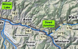 photo - Town of Vail map of mile marker locations along Interstate 70 in Eagle County