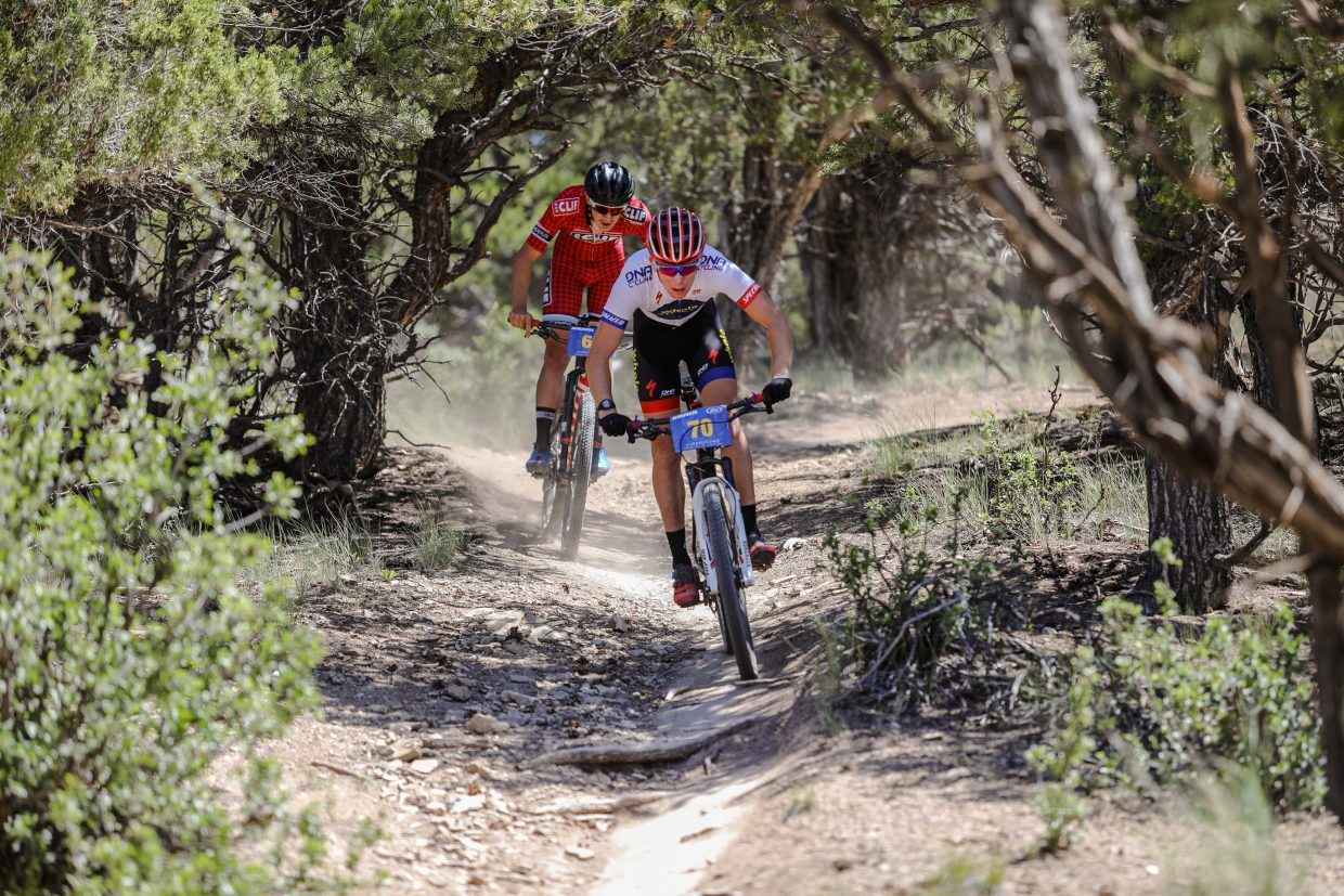 Quinn Simmons flies down Boneyard Trail during the Firebird Cross Country – 2017 Colorado State Championships on Saturday in Eagle. Simmons took first in his division