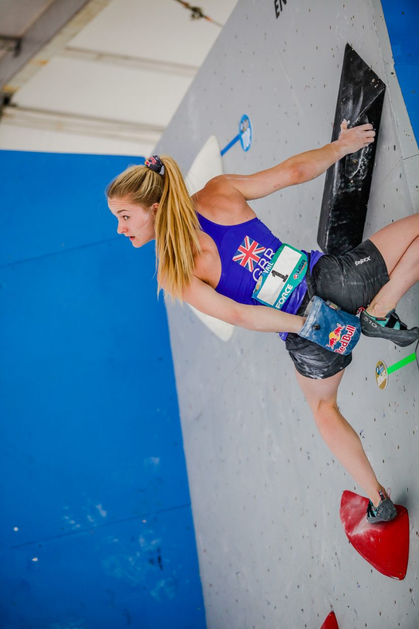 Shauna Coxsey of Great Britian checks for support before making the final pitch during the International Federation of Sport Climbing finals during the GoPro Mountain Games on Saturday in Vail.