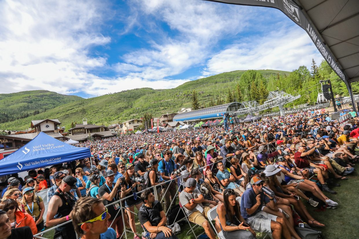 The crowd was abundant for the International Federation of Sport Climbing finals during the GoPro Mountain Games on Saturday in Vail.