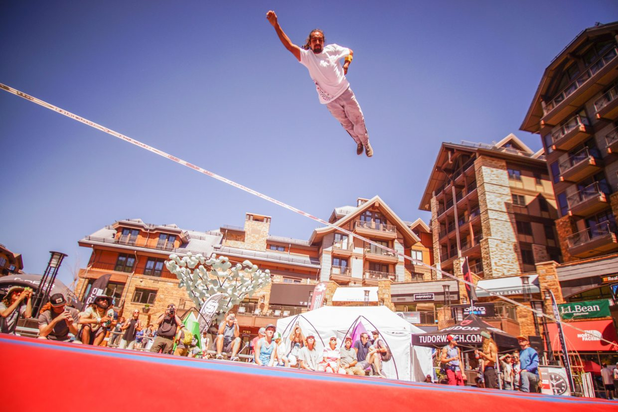 Abraham Hernandez, 24, of Chile competes in the Slackline Invitational on Saturday in Vail.
