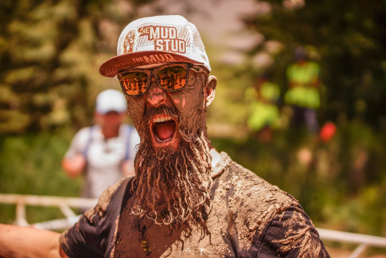 Jess The Mud Stud gets ready for the Volvo Mountain Mud Run on Saturday afternoon near Gondola One.