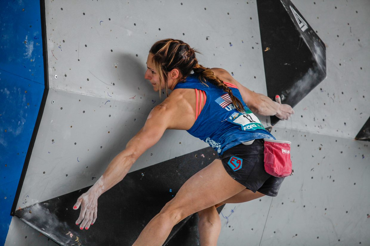 AlexPuccio of the U.S. makes her way up the first route of the International Federation of Sport Climbing for the GoPro Mountain Games on Saturday, June 10, 2017, in Vail, Colo. The best blouders in the world competed in the finals.