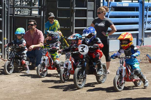 Starting lineup for the electric minibike class at Moto Mayhem at the Eagle County Fairgrounds on Saturday.
