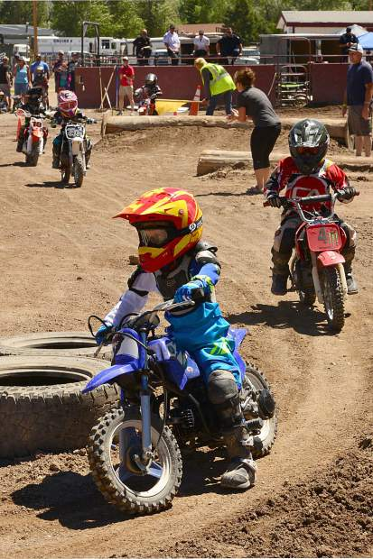 No. 4 Hayden Hyslop, 4, of Edwards, powers through the tire section in the 4- to 6-year-old 50cc minibike class at Moto Mayhem at the Eagle County Fairgrounds on Saturday.
