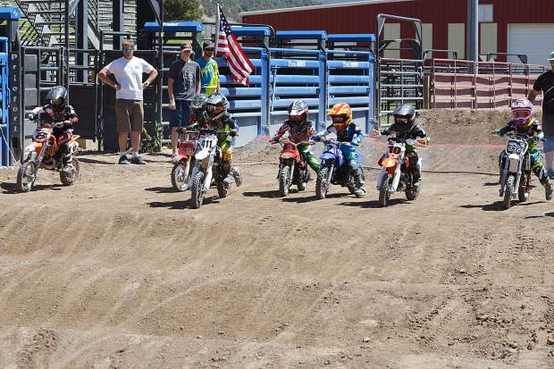 Starting lineup for the 4- to 6-year-old 50cc minibike class at Moto Mayhem at the Eagle County Fairgrounds on Saturday.