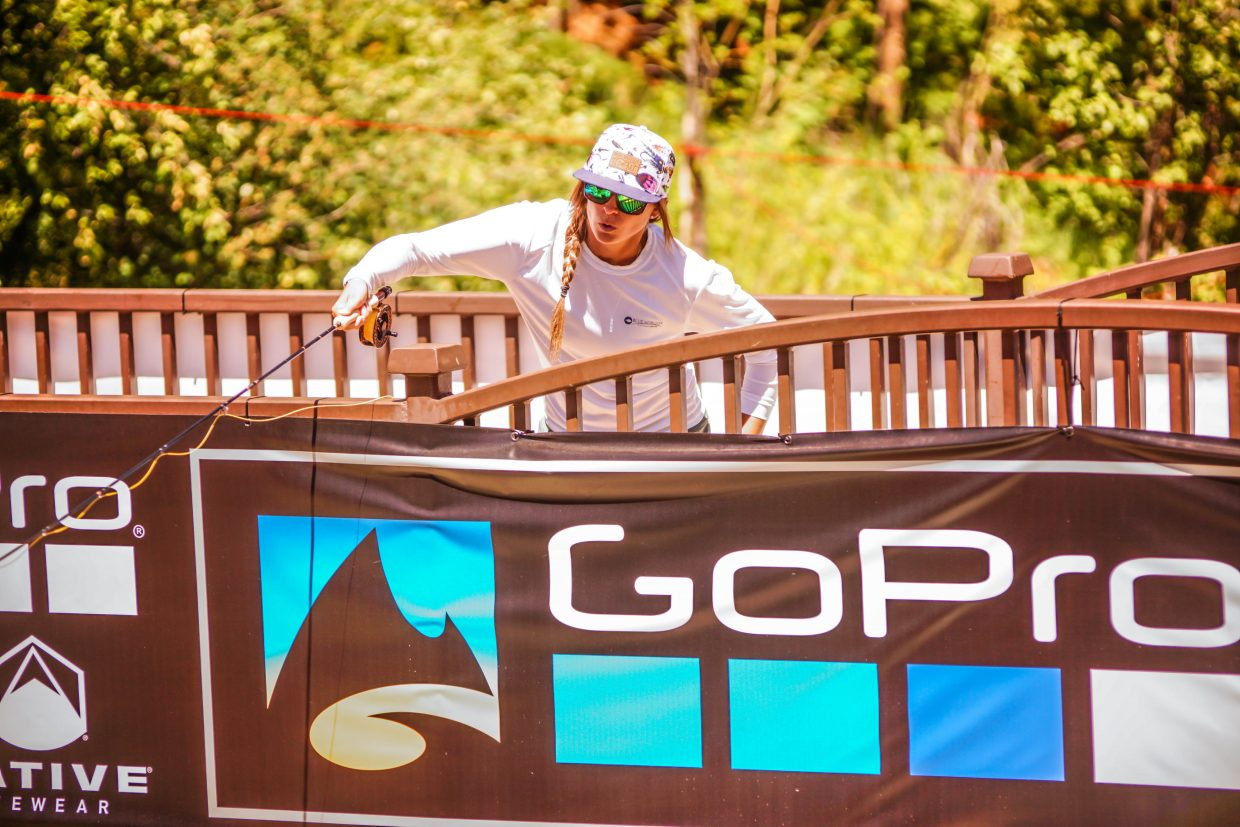 Local artist and flyfishing guide, Mandy Hertzfeld, competes in the Costa 2 Fly X-Stream on Saturday in Vail.