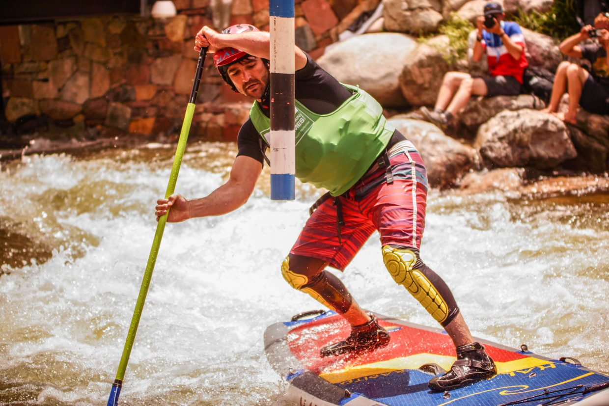 Peter Hall, of Steamboat, competes in the SUP Cross Qualifer on Sunday in Vail.