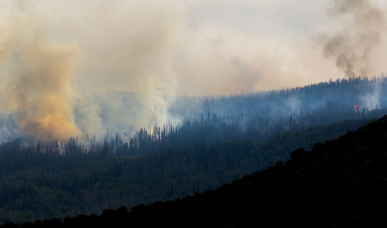 The Gutzler Fire burns north of State Bridge on Thursday in Eagle County. Eagle County joins other counties with fire restrictions with a Stage 1 fire restrictions. More than 30 fires are active around the western U.S.
