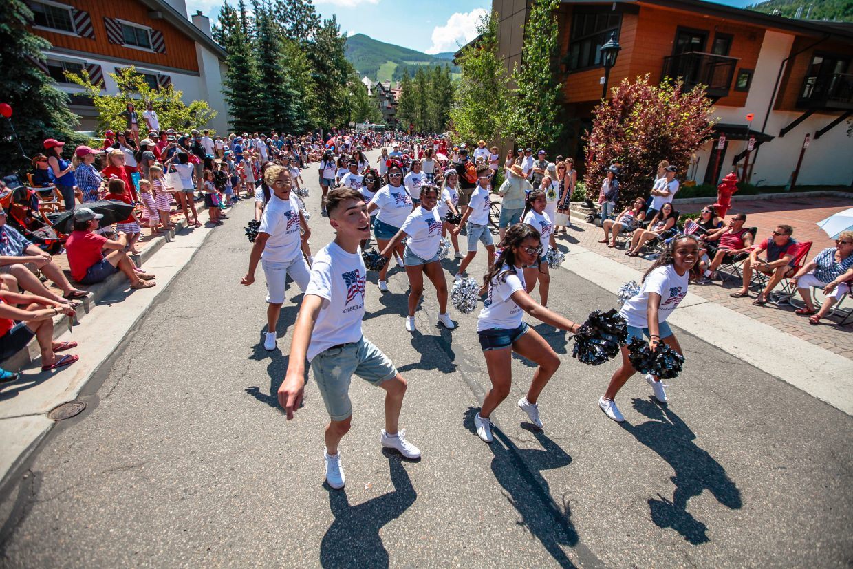 The Montbello Drumline and Cheer perform for the crowd during Vail America Days July 4 Parade Tuesday, July 4, in Vail.