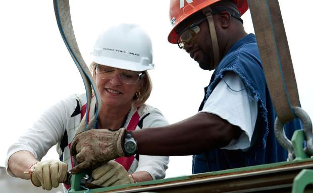 Susan Ford Bales, one of President and Betty Ford's four children, was the ship's sponsor for the mega aircraft carrier named for her father.