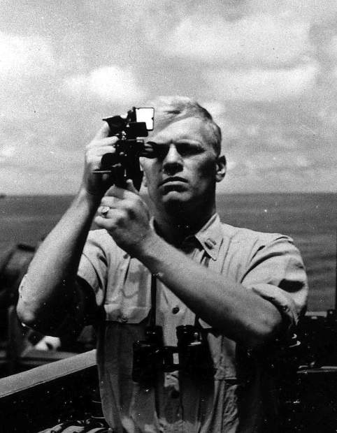 Navigation Officer Gerald R. Ford takes a sextant reading aboard the USS Monterey, 1944.