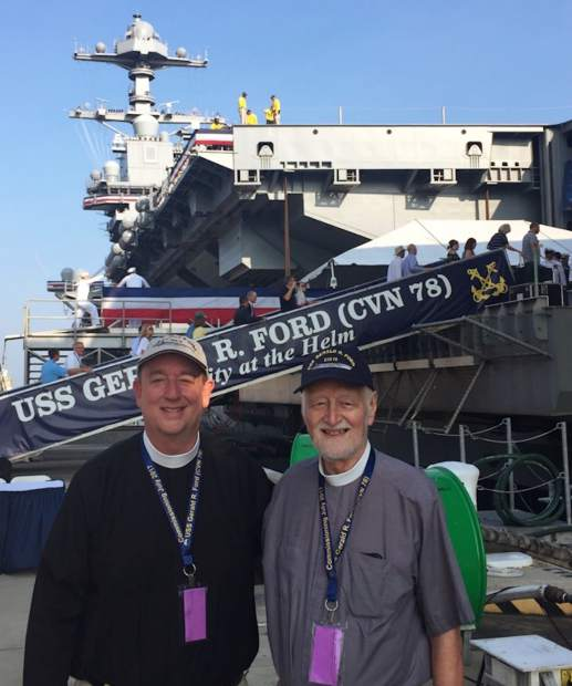 Father Brooks Keith and Deacon Steve Baird were invited by Susan Ford Bales to attend the commisisoning of the USS Gerald R. Ford.