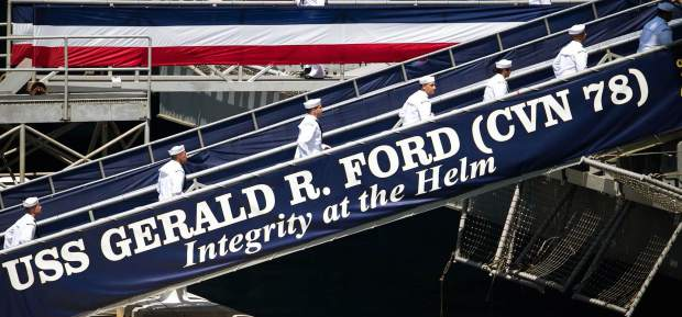 USS Gerald R. Ford Sailors run up Ford's brow to bring the ship to life during Ford's commissioning ceremony. The Ford is the lead ship of the Ford-class aircraft carriers, and the first new U.S. aircraft carrier design in 40 years.