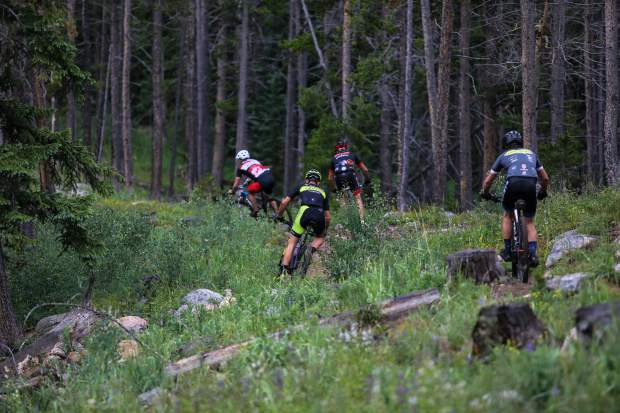 Riders zig and zag through Lost Lake Loop during Wednesday's racing action in Vail. For the tougher divisions, the course was about 13 miles and had 3,400 feet in elevation gain.