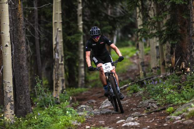 Riders make their way down Lost Lake Trail for the Lost Lake Loop bike race through the Vail Recreation District on Wednesday, July 12, in Vail. The race hasn't been held on that course in 10 years.