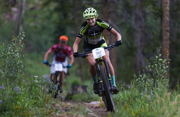 Competitors take on the Vail Recreation District's Lost Lake Loop on July 12, 2017, in Vail.